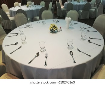 focus on Table set for fine dining
