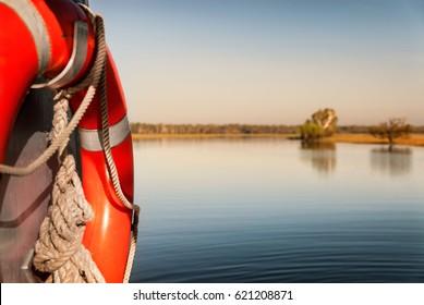 Focus on water safety. Yellow Water billabong in golden dawn light, Northern Territories, Australia