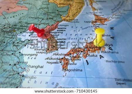 Focus Pushpin Marking Pyongyang Korea Tokyo Stockfoto (Jetzt ...