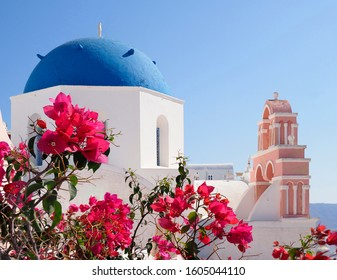 Focus Stacked Image of Bougainvillea and Church in Santorini, Greece