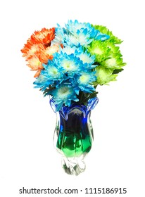 Focus Stacked Image of Colorful Chrysanthemum In a Glass Vase Isolated on White
