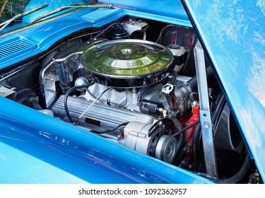 Focus Stacked Image of a Restored American V8 Engine in a 60s Model Car