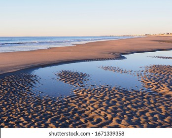 A Focus Stacked Image Showing Extreme Detail of the Rippled Sand in the Tide Pools pf Huntington Beach, South Carolina