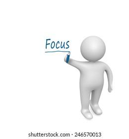 focus word written  by a man