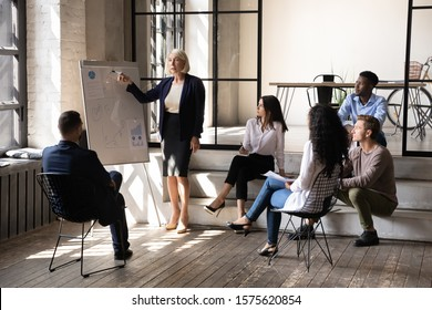Focused young multiethnic employees sitting on stairs and chairs, listening to middle aged speaker trainer coach, explaining company marketing strategy with graphs on whiteboard in modern workplace.