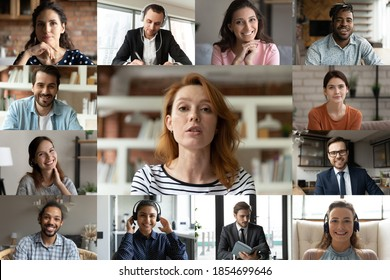 Focused young red-haired female employee leader holding video conference working call with happy diverse multiracial colleagues teammates, enjoying distant web brainstorming briefing meeting. - Shutterstock ID 1854699646