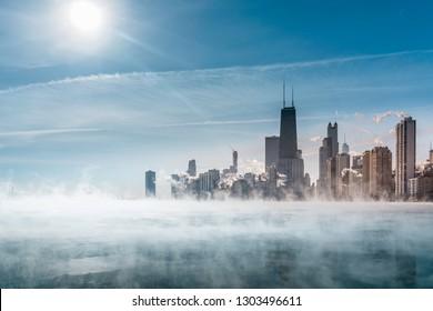 Fog above Lake Michigan along Chicago Downtown shoreline. Winter polar vortex