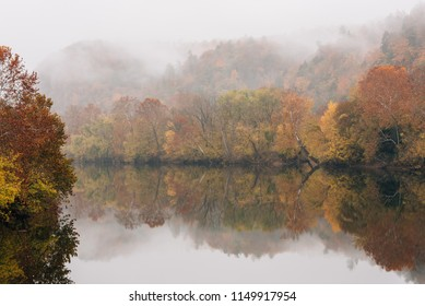 Fog and autumn color on the James River, from the Blue Ridge Parkway in Virginia.