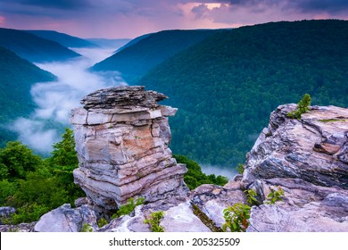 Fog in the Blackwater Canyon at sunset, seen from Lindy Point, Blackwater Falls State Park, West Virginia.