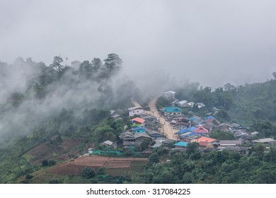 fog and cloud mountain under mist the morning in north chaingmai,north Thailand