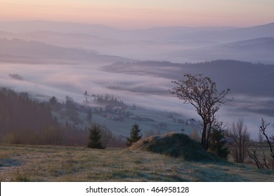 fog and cloud mountain valley landscape, Beskidy, Poland