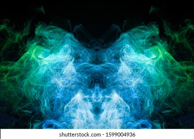 Fog colored with bright green and blue  smoke on dark background. Background consists of fractal multicolor texture and is suitable for use in projects on imagination, creativity and design.