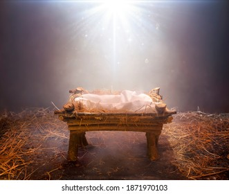 Fog And Dust Lights Falling On Empty Manger -  Waiting For The Messiah