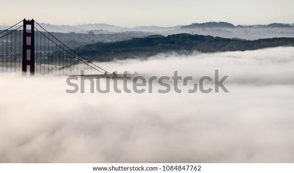 Fog Golden Gate Bridge San Francisco USA California