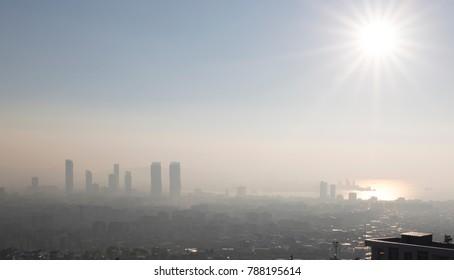 Fog and haze over the skyline of Izmir, Turkey.