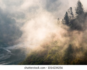 Fog, highlighted by the early morning sun, rising over the American River Canyon, Auburn, CA