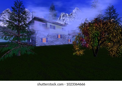 Fog at home, 3D rendering, an alpine landscape, trees, grass and snowy mountains in the background.