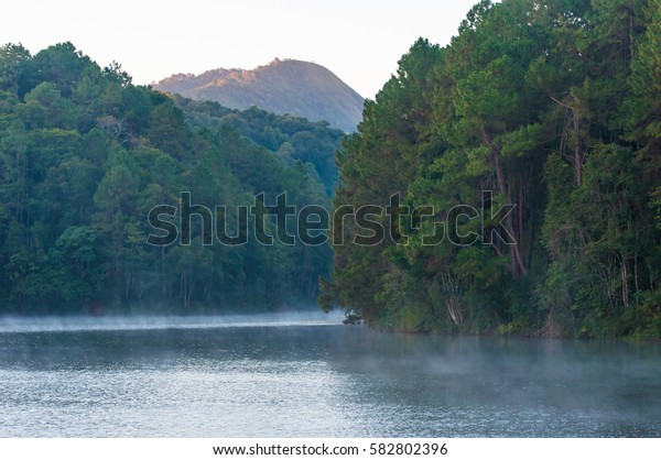 Fog in Lake on Mountain in the Morning.