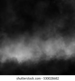 Fog and mist effect on black background.