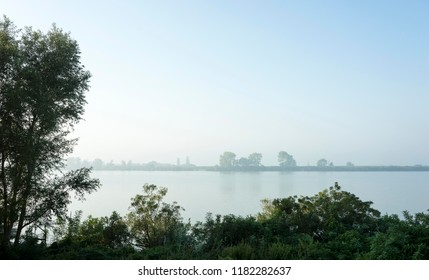 fog in the mornig on the Pò river in Italy