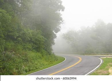 fog in a mountain road