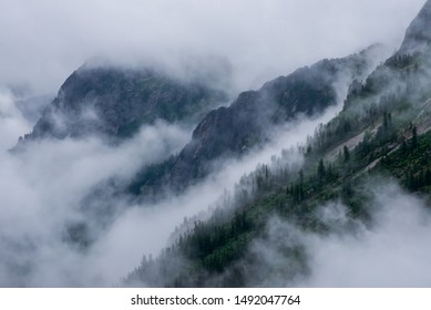 Fog in the mountains during the day