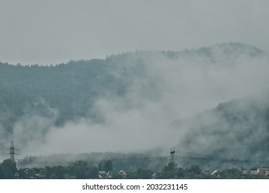 The fog in mountains, Krasnoyarsk, Siberia, Russia.