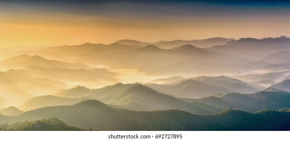Fog with mountains. In the morning, the mountains in Mae Hong Son Province.