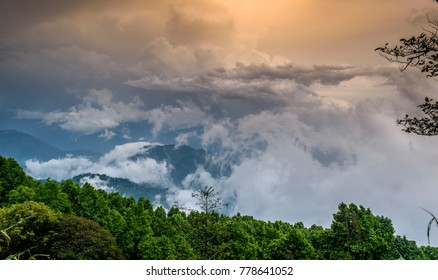 Fog in the mountains. Overcast weather. kalimpong.