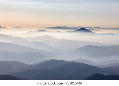 Fog in the mountains at sunset, Oiz, Basque Country