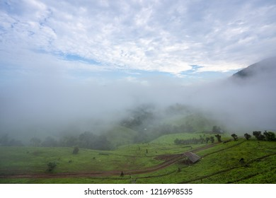 Fog and mountains in thailand