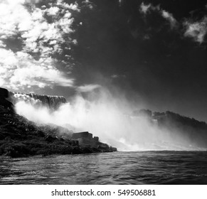The fog of Niagara falls in black and white style, Canada