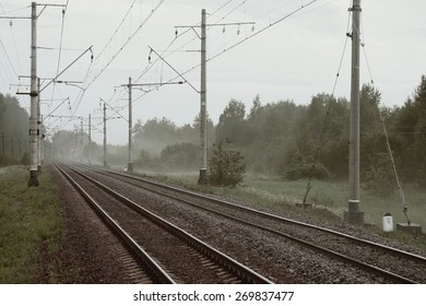 Fog on the free way Railroad in Russia.