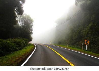 fog on road at chiangmai thailand