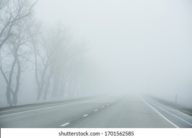Fog on the road early morning