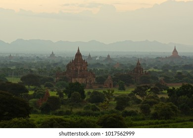 Fog over Bagan temples and pagodas in early morning, Burma (Myanmar)
