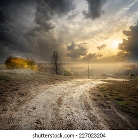 Fog over country road in the autumn