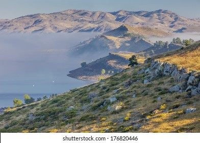 fog over Horsetooth Reservoir in Rocky Mountain foothills near Fort Collins, Colorado, late summer morning