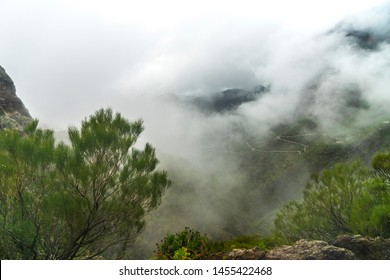 Fog over Mask Gorge. A charming view from the point of view of the Maska village. Huge rocks and gorge with a picturesque village - Image