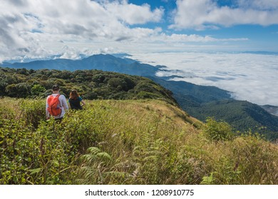 Fog over the mountain and tourist, Doi Inthanon national park the highest mountain in Thailand