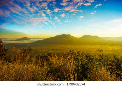 Fog over Phu Thok Mountain at Chiang Khan ,Loei Province in Thailand.