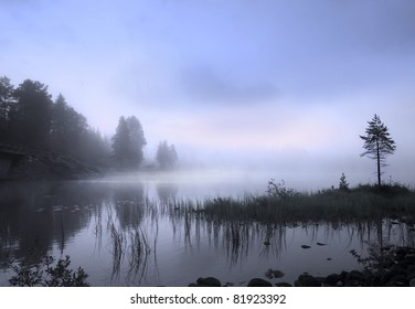 Fog over a Scandinavian lake