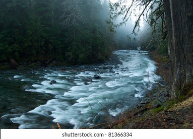 Fog over the Sol Duc River in Olympic National Park, WA