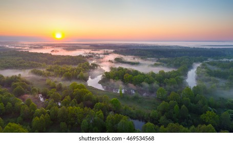 Fog over West Biarezina river in Naliboki pushcha, Belarus