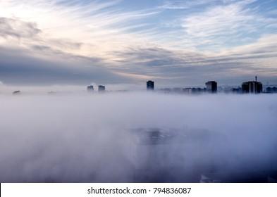 Fog panorama, Bratislava city, Slovakia