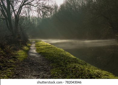 Fog rising from Coventry Canal, Alvecote, warwickshire.