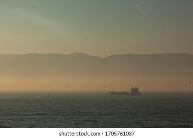 Fog and Ship Izmit Kocaeli Turkey