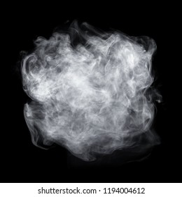Fog or smoke isolated on black background. White cloudiness, mist or smog background.