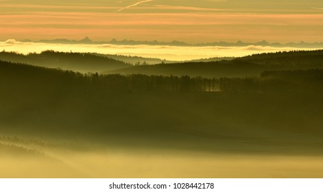 fog in the  swabian alps; Germany;