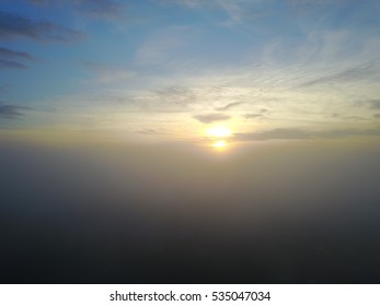 Fog under the clear skies